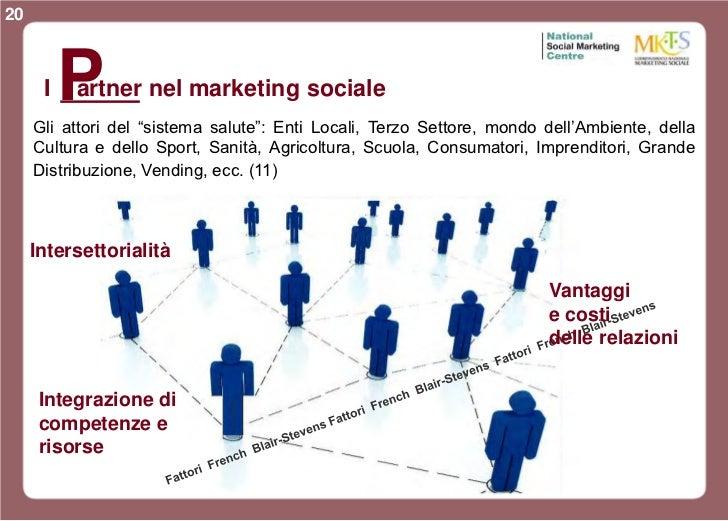 """20      I   P          artner nel marketing sociale     Gli attori del """"sistema salute"""": Enti Locali, Terzo Settore, mondo..."""