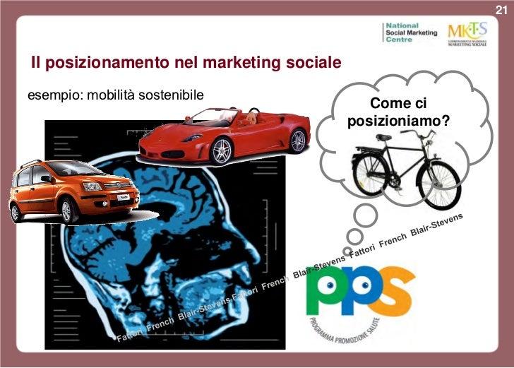 21Il posizionamento nel marketing socialeesempio: mobilità sostenibile                                             Come ci...