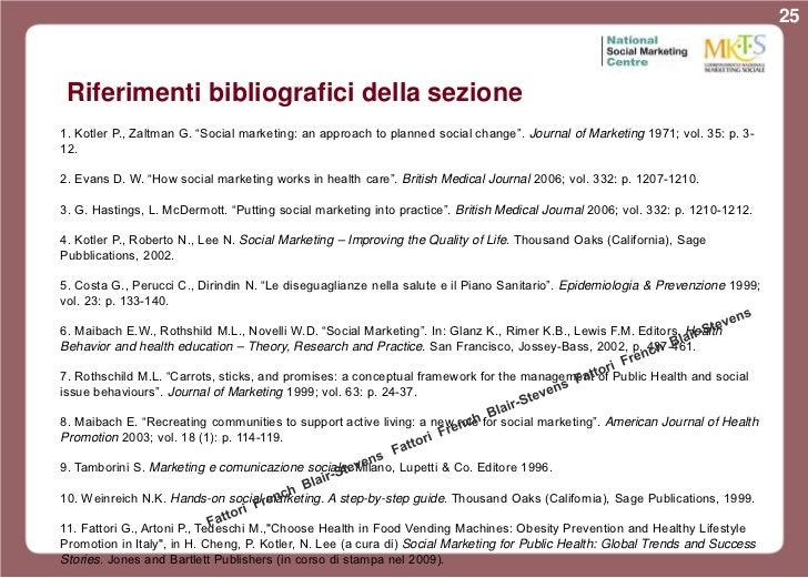 "25 Riferimenti bibliografici della sezione1. Kotler P., Zaltman G. ""Social marketing: an approach to planned social change..."