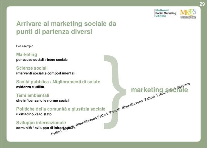 29Arrivare al marketing sociale dapunti di partenza diversiPer esempioMarketingper cause sociali / bene socialeScienze soc...
