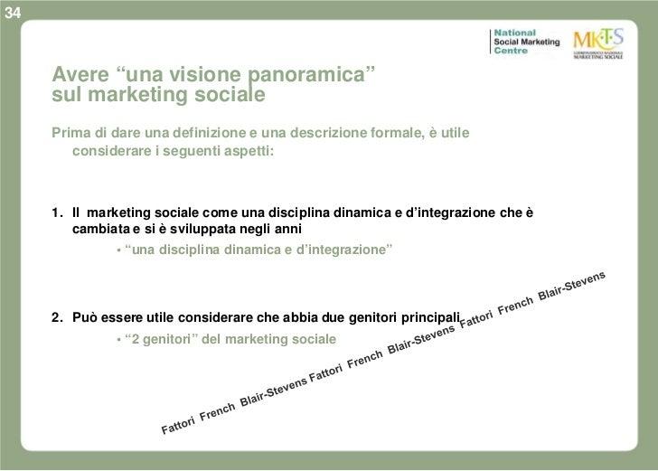 """34     Avere """"una visione panoramica""""     sul marketing sociale     Prima di dare una definizione e una descrizione formal..."""