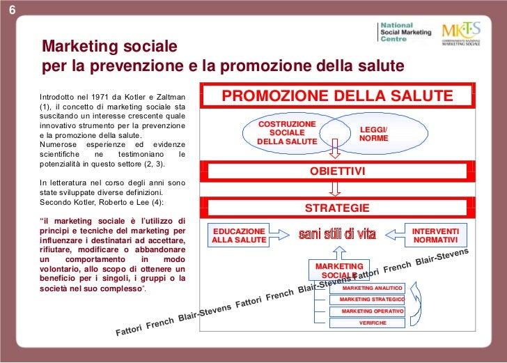 6    Marketing sociale    per la prevenzione e la promozione della salute    Introdotto nel 1971 da Kotler e Zaltman      ...