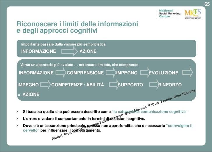 65Riconoscere i limiti delle informazionie degli approcci cognitivi    Importante passare dalla visione più semplicistica ...