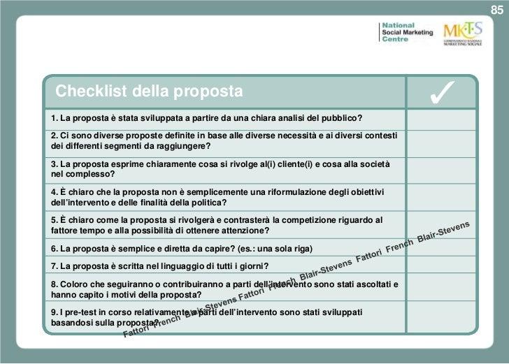 85 Checklist della proposta1. La proposta è stata sviluppata a partire da una chiara analisi del pubblico?2. Ci sono diver...