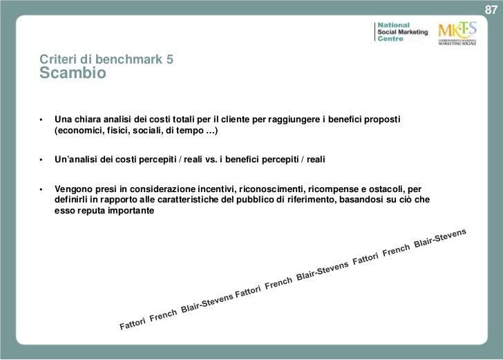 87Criteri di benchmark 5Scambio•   Una chiara analisi dei costi totali per il cliente per raggiungere i benefici proposti ...