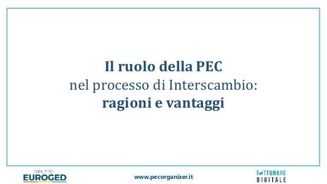 www.pecorganizer.it Il ruolo della PEC nel processo di Interscambio: ragioni e vantaggi