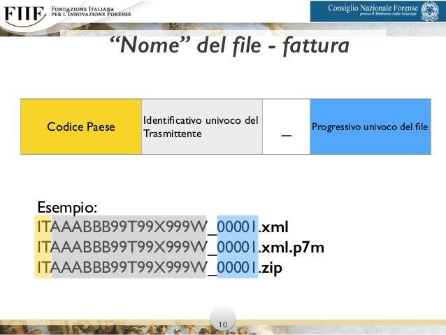 """""""Nome"""" del file - fattura Codice Paese Identificativo univoco del Trasmittente _ Progressivo univoco del file Esempio:   IT..."""