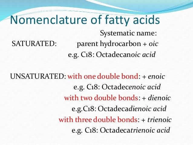 nomenclature of fatty acids pdf