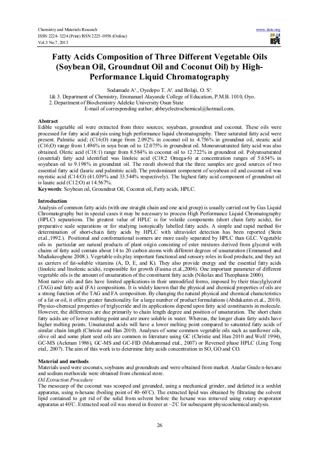 Chemistry and Materials Research www.iiste.org ISSN 2224- 3224 (Print) ISSN 2225- 0956 (Online) Vol.3 No.7, 2013 26 Fatty ...