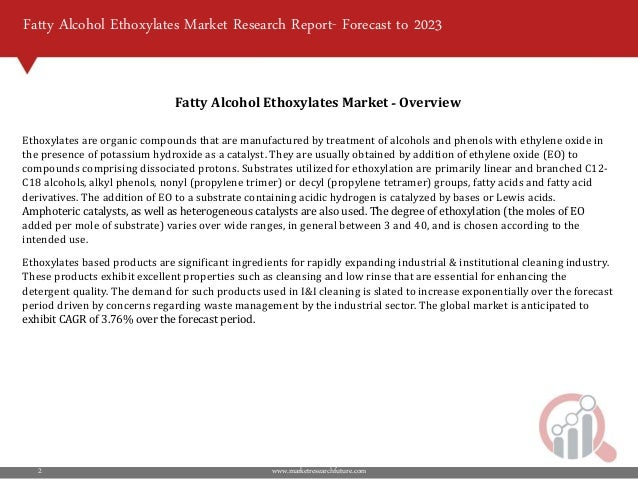 Fatty Alcohol Ethoxylates Market 2018 | Growth – Key Futuristic Trend…
