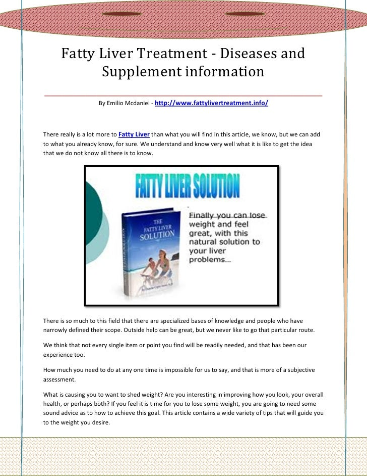 Fatty Liver Treatment - Diseases and          Supplement information________________________________________________      ...