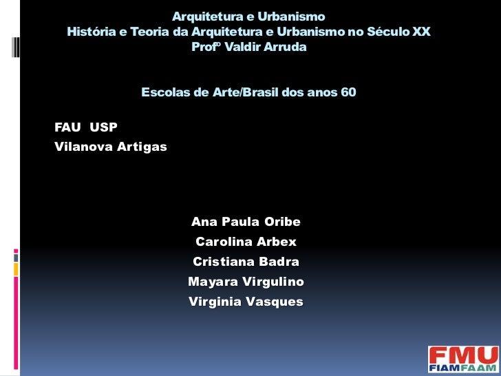 Arquitetura e Urbanismo História e Teoria da Arquitetura e Urbanismo no Século XX                      Profº Valdir Arruda...