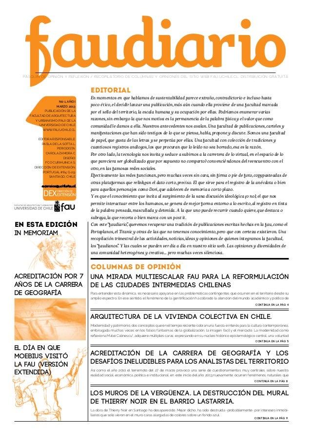 PASQUÍN DE OPINIÓN Y REFLEXIÓN / RECOPILATORIO DE COLUMNAS Y OPINIONES DEL SITIO WEB FAU.UCHILE.CL. DISTRIBUICIÓN GRATUITA...