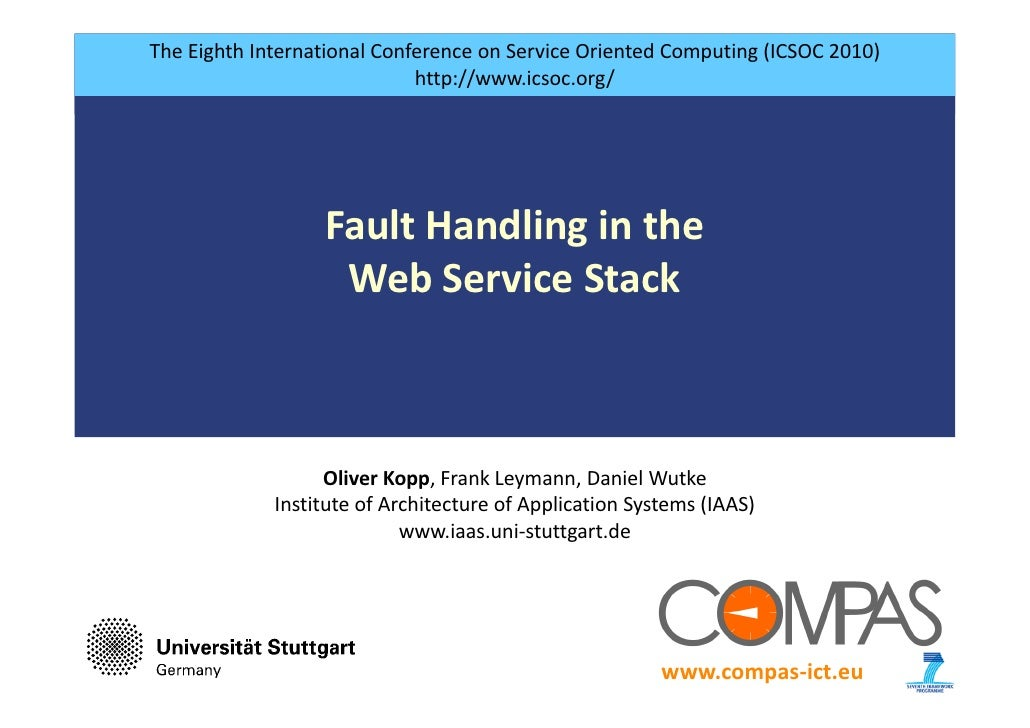 Fault handling in the web service stack