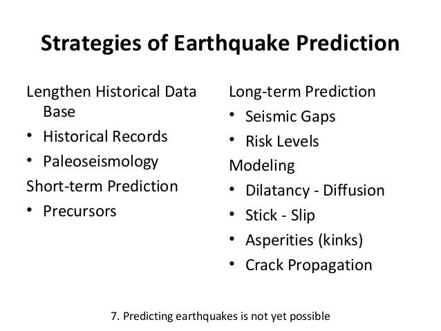 the challenges in predicting earthquakes This essay provides an introduction to the general challenges of predicting political violence, particularly compared with predicting other types of events (such as earthquakes.