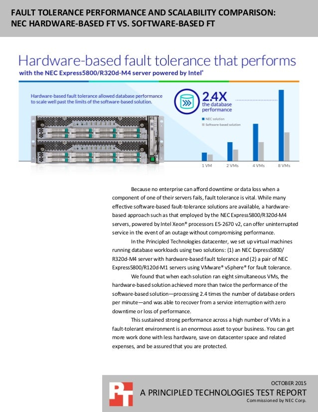 OCTOBER 2015 A PRINCIPLED TECHNOLOGIES TEST REPORT Commissioned by NEC Corp. FAULT TOLERANCE PERFORMANCE AND SCALABILITY C...