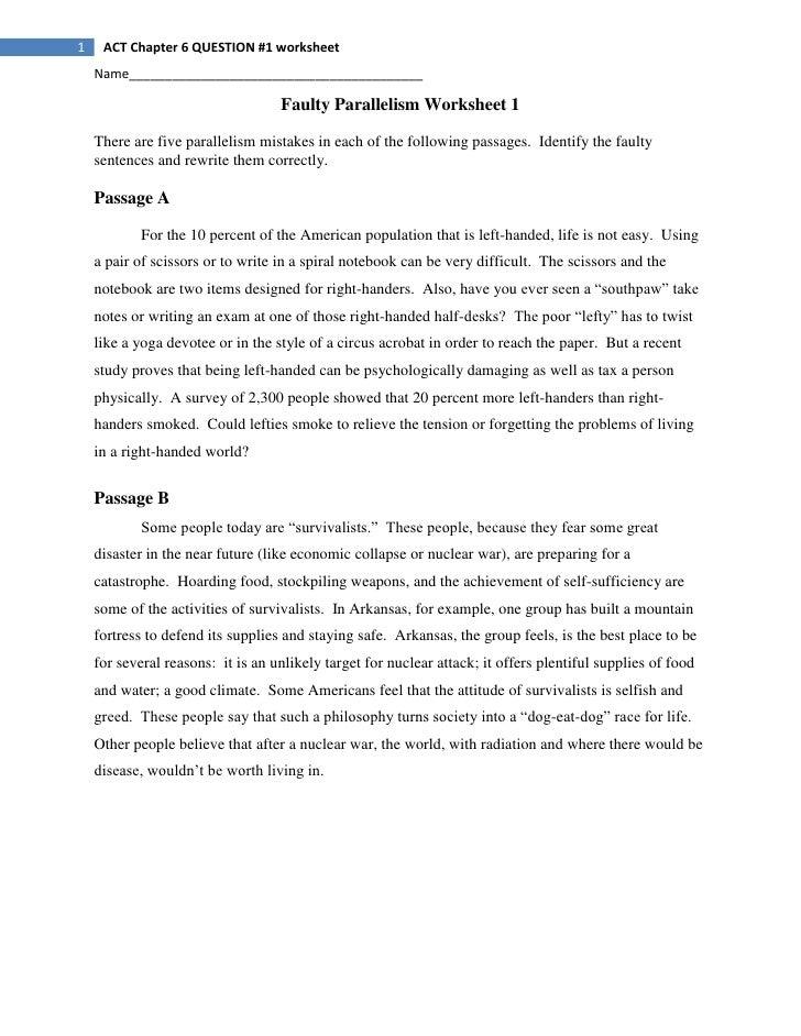 Faulty Parallelism Worksheet 1