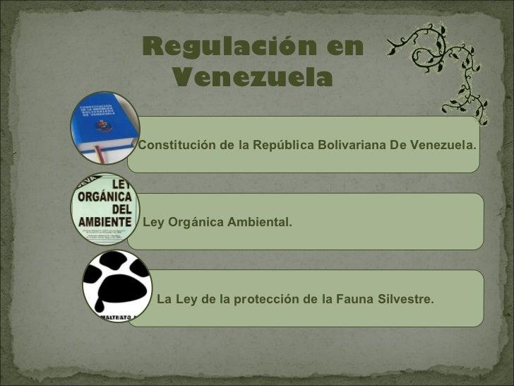 Regulación en VenezuelaConstitución de la República Bolivariana De Venezuela.Ley Orgánica Ambiental.   La Ley de la protec...