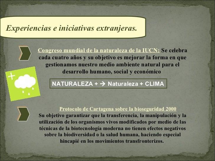 Experiencias e iniciativas extranjeras.         Congreso mundial de la naturaleza de la IUCN: Se celebra         cada cuat...