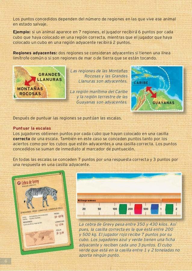6 Los puntos concedidos dependen del número de regiones en las que vive ese animal en estado salvaje. Ejemplo: si un anima...