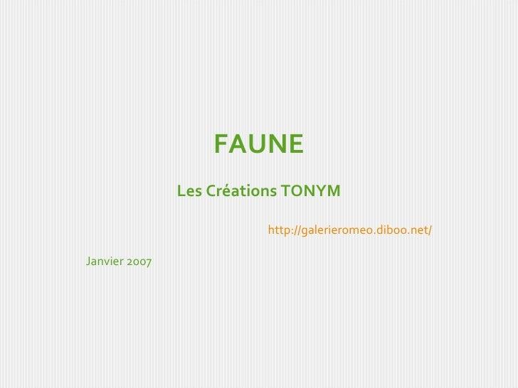 FAUNE Les Créations TONYM http://galerieromeo.diboo.net/ Janvier 2007