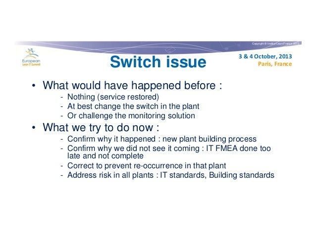 Copyright © Institut Lean France 2013  Switch issue  3 & 4 October, 2013 Paris, France  • What would have happened before ...