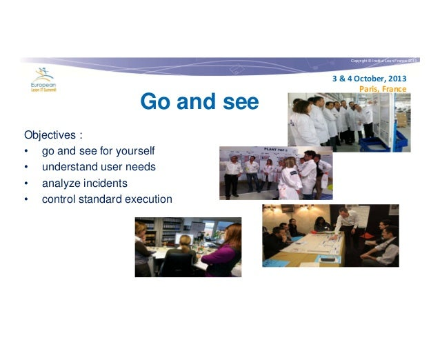 Copyright © Institut Lean France 2013  Go and see Objectives : • go and see for yourself • understand user needs • analyze...