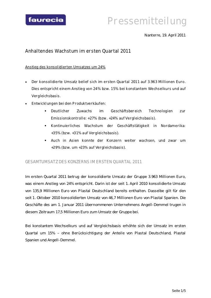 Pressemitteilung                                                                    Nanterre, 19. April 2011Anhaltendes Wa...