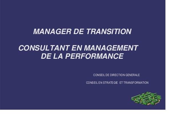 MANAGER DE TRANSITION  CONSULTANT EN MANAGEMENT  DE LA PERFORMANCE  CONSEIL DE DIRECTION GENERALE  CONSEIL EN STRATEGIE ET...