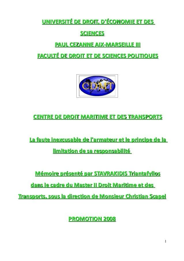 UNIVERSITÉ DE DROIT, D'ÉCONOMIE ET DESUNIVERSITÉ DE DROIT, D'ÉCONOMIE ET DES SCIENCESSCIENCES PAUL CEZANNE AIX-MARSEILLE I...
