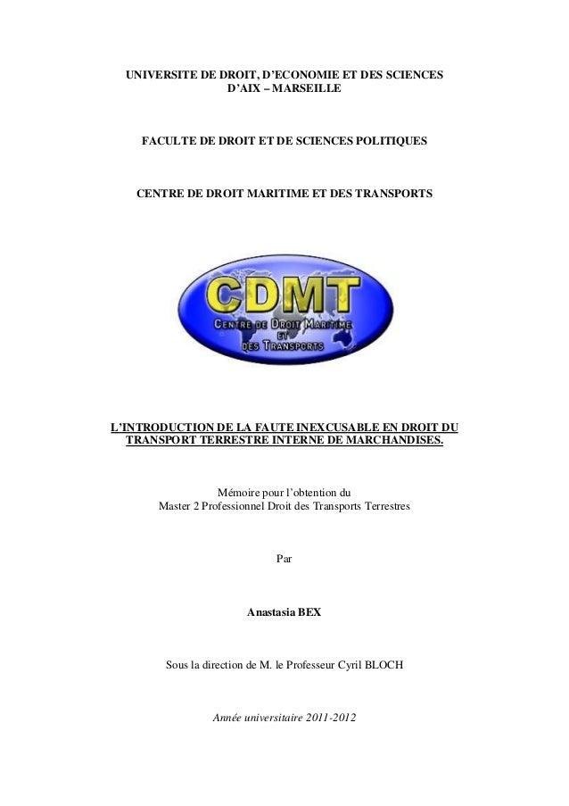 UNIVERSITE DE DROIT, D'ECONOMIE ET DES SCIENCES D'AIX – MARSEILLE FACULTE DE DROIT ET DE SCIENCES POLITIQUES CENTRE DE DRO...