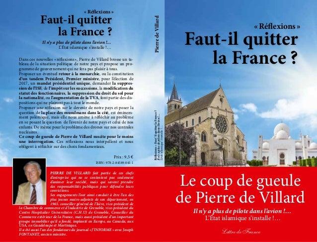 Faut-il quitter la France? «Réflexions» Le coup de gueule de Pierre de Villard Il n'y a plus de pilote dans l'avion!… ...