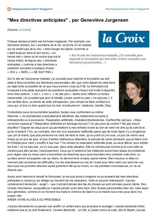"""fautpaspousser-malo17.blogspot.fr http://fautpaspousser-malo17.blogspot.fr/ """"Mes directives anticipées"""" , par Geneviève Ju..."""