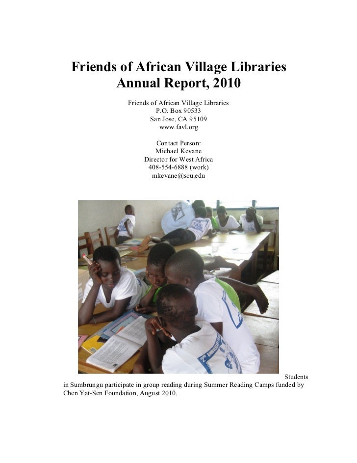 Friends of African Village Libraries         Annual Report, 2010                     Friends of African Village Libraries ...