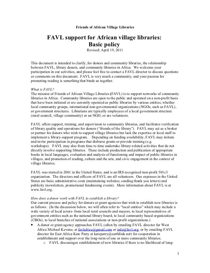 Friends of African Village Libraries          FAVL support for African village libraries:                        Basic pol...