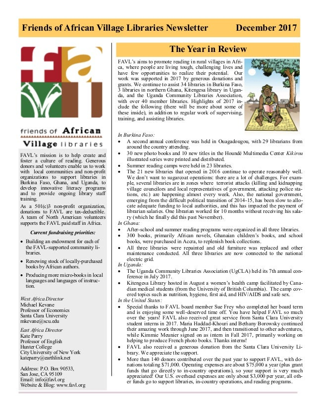 Friends of African Village Libraries Newsletter December 2017 FAVL's mission is to help create and foster a culture of rea...
