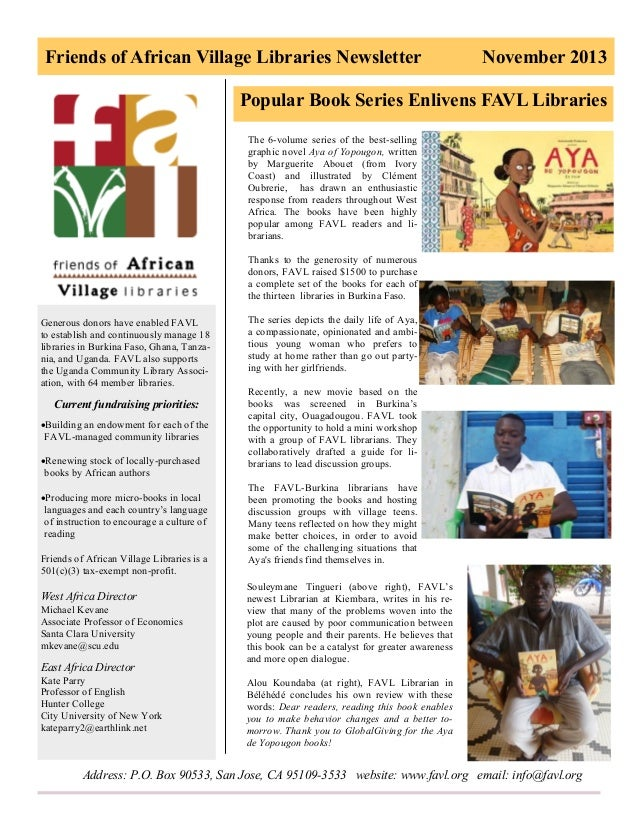 Friends of African Village Libraries Newsletter  November 2013  Popular Book Series Enlivens FAVL Libraries The 6-volume s...