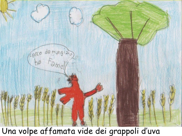 Una volpe affamata vide dei grappoli d'uva