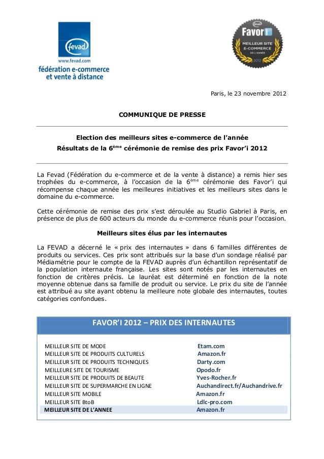 Paris, le 23 novembre 2012                           COMMUNIQUE DE PRESSE            Election des meilleurs sites e-commer...