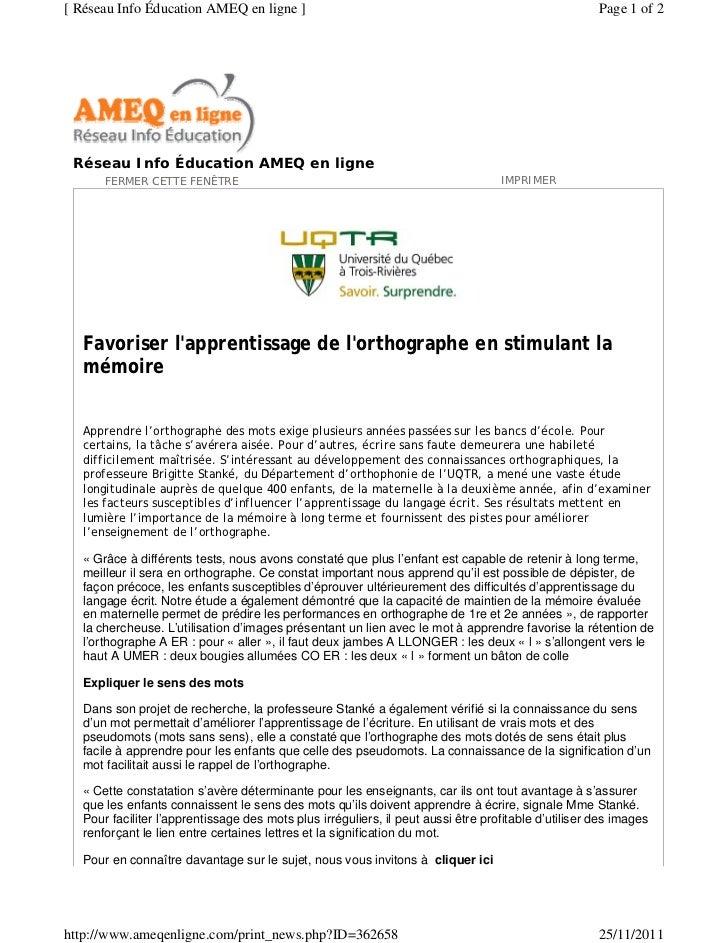 [ Réseau Info Éducation AMEQ en ligne ]                                                               Page 1 of 2 Réseau I...