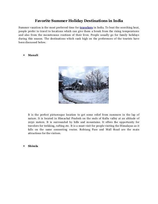 favorite holiday destination essay