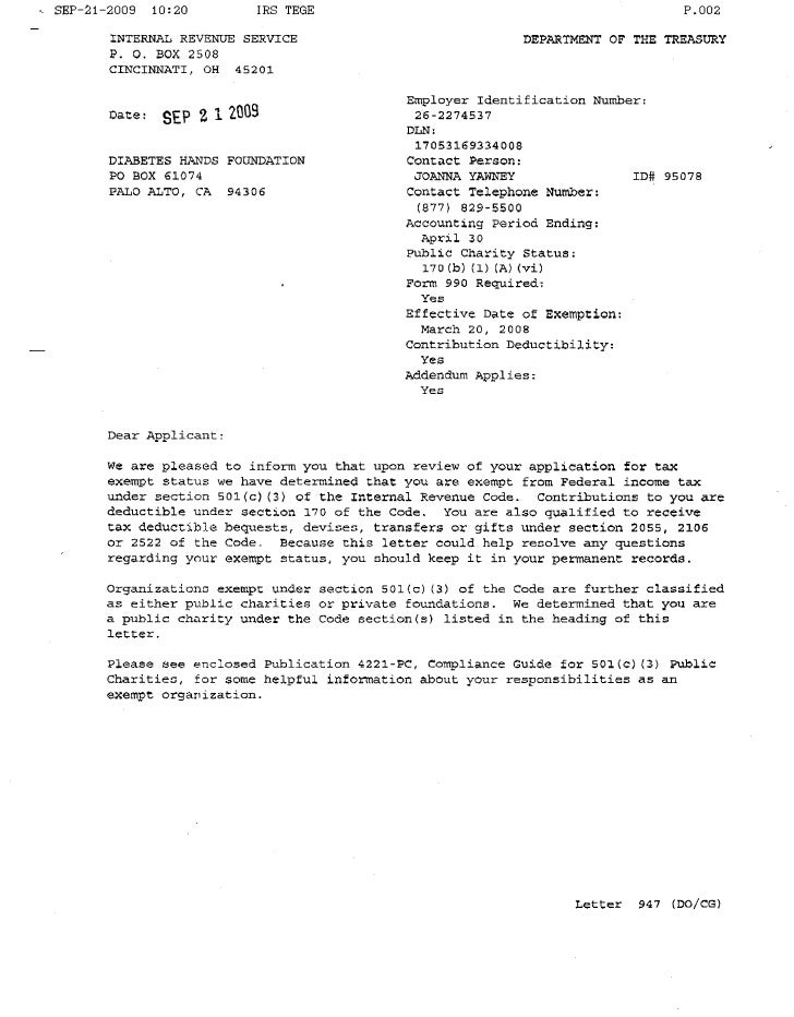 DHF 501(c)(3) determination letter from IRS