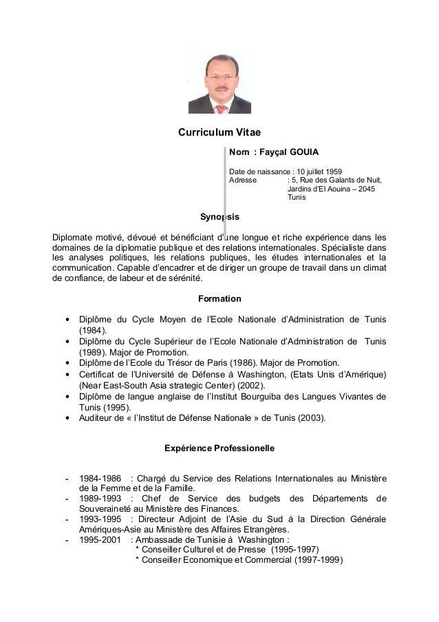 Curriculum Vitae Nom : Fayçal GOUIA Date de naissance : 10 juillet 1959 Adresse : 5, Rue des Galants de Nuit, Jardins d'El...
