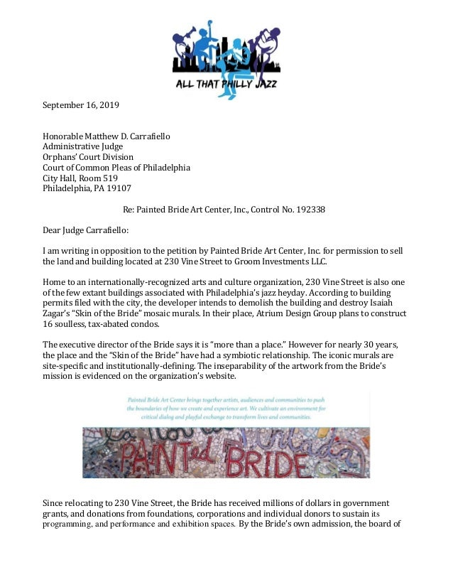 September 16, 2019 Honorable Matthew D. Carrafiello Administrative Judge Orphans' Court Division Court of Common Pleas of ...