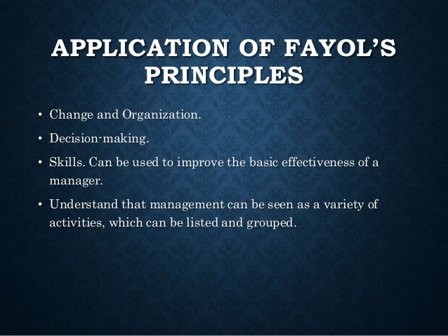fayol s principles applied in dominos In this lesson, we will learn about henri fayol and his 14 principles of management our main focus will be on the principle of order in the.
