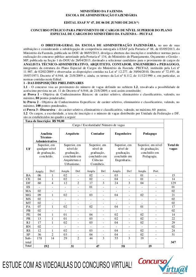MINISTÉRIO DA FAZENDA ESCOLA DE ADMINISTRAÇÃO FAZENDÁRIA EDITAL ESAF Nº 47, DE 06 DE JUNHO DE 2013(*) CONCURSO PÚBLICO PAR...