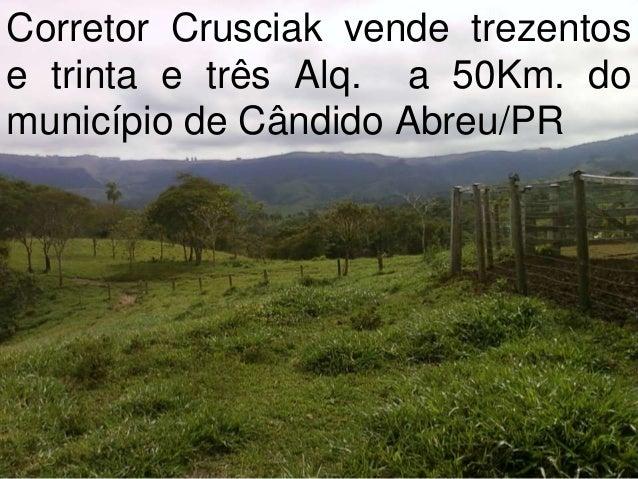 Corretor Crusciak vende trezentos e trinta e três Alq. a 50Km. do município de Cândido Abreu/PR