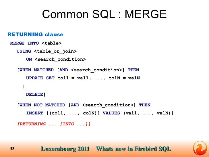 New features of SQL in Firebird