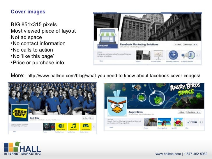 Cover imagesBIG 851x315 pixelsMost viewed piece of layoutNot ad space•No contact information•No calls to action•No 'like t...