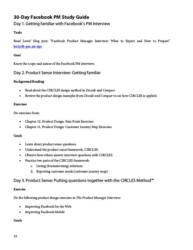 """10 30-Day Facebook PM Study Guide Day 1. Getting familiar with Facebook's PM Interview Tasks Read Lewis' blog post: """"Faceb..."""